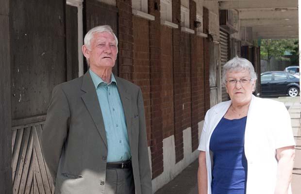 Cllr Eric Drinkwater and Cllr Sue Woodward outside the former Royal Oak pub