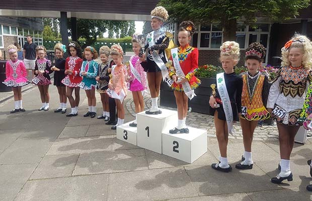 Heidi Hawkes on top of the podium at the Tierney Feis in Leeds