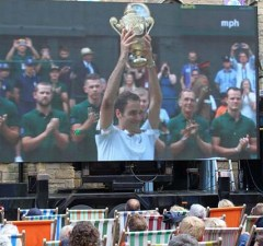 Crowds watching Wimbledon in Market Square. Pic: Lichfield BID