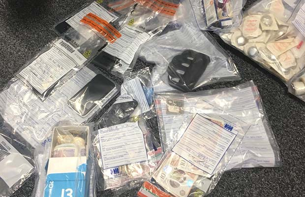 Some of the items found during the police raid in Burntwood