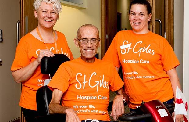 Hospice patient George Hope taking part in Orange Week