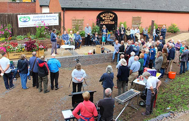 Members celebrating the 30th anniversary of the Lichfield and Hatherton Canals Restoration Trust