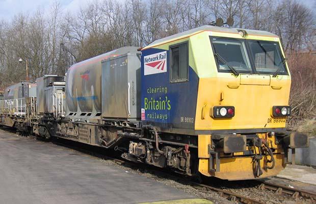 One of the leaf-blasting trains