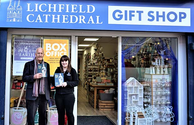 Author Dr Robert Sharp with Ros White at the Lichfield Cathedral Gift Shop
