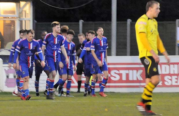 Chasetown celebrate Jazz Luckie goal