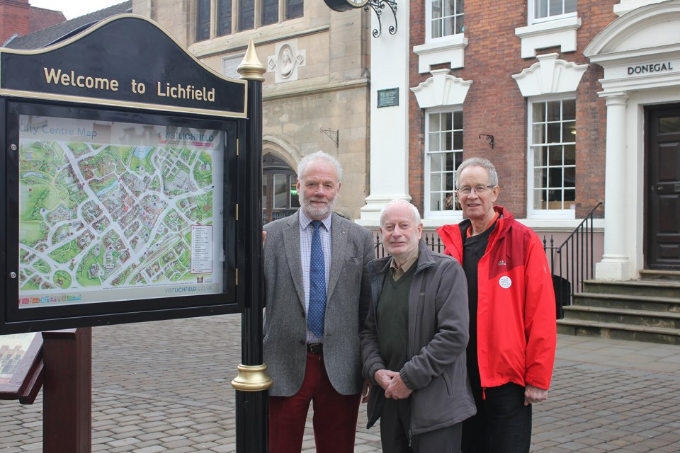 Cllr Ian Pritchard with Brian Pretty from the Lichfield District Tourism Association and Cllr David Dundas
