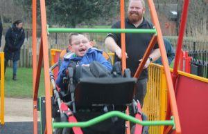 William Jennings enjoying the new swing at Beacon Park