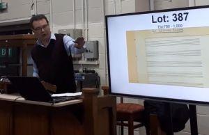 Auctioneer Richard Winterton selling the Elgar score