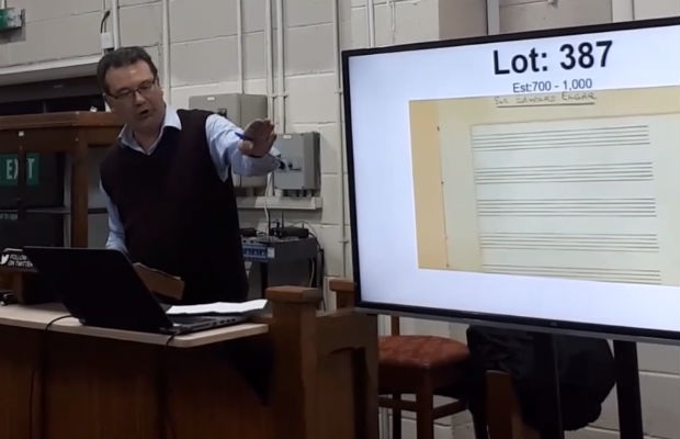 Auctioneer Richard Winterton selling the Elgar score