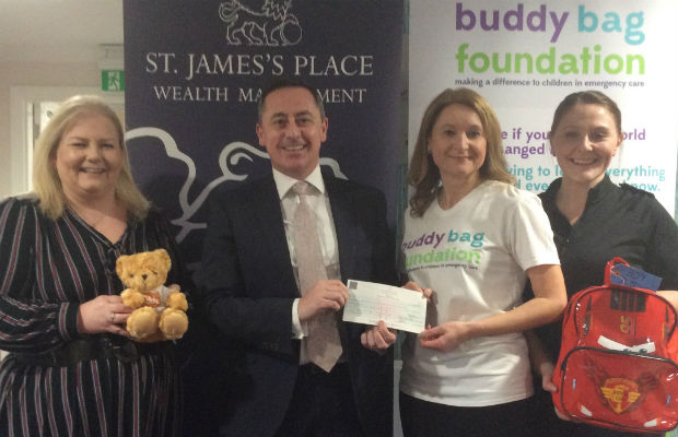 The donation is handed over to the Buddy Bag Foundation