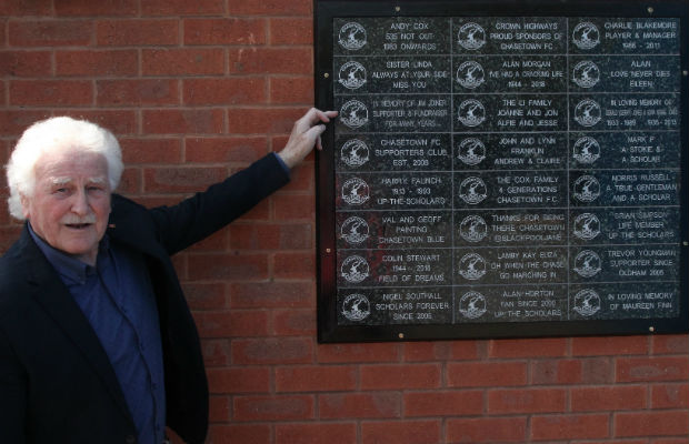 Mick Joiner with the first tiles on the Wall of Support at Chasetown FC