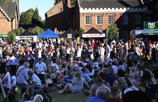 Crowds enjoying a festival in Lichfield