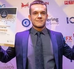 Ryan Lenton-Kane with his awards