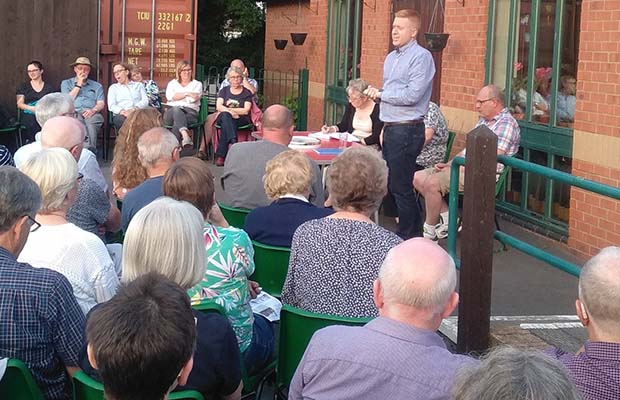 Cllr Doug Pullen speaking at the public meeting
