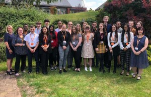 Summer school students with members of the St Giles Hospice team