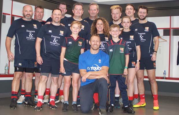 Members of the Lichfield team with Jonny Wilkinson