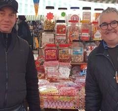 John Madden (right) meeting a market trader in Lichfield