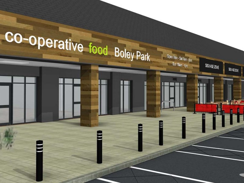 An artist's impression of the new Central England Co-operative store on Boley Park