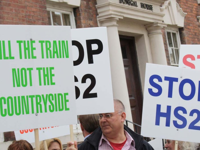 Campaigners protesting against HS2 in Lichfield