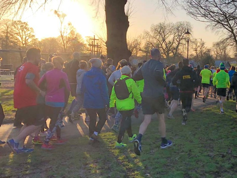 People taking part in the Lichfield Park Run