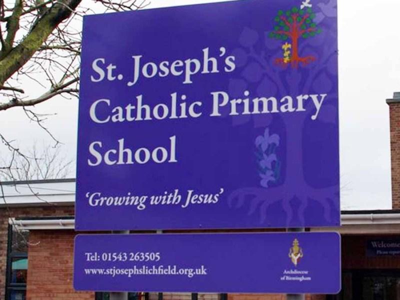 St Joseph's RC Primary School sign