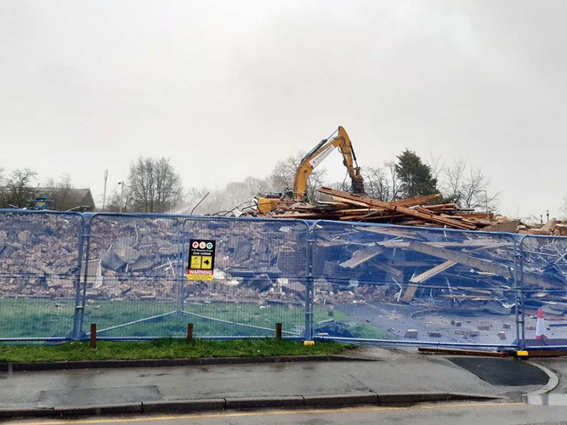 Demolition work taking place on the former police station in Lichfield