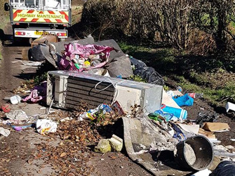 The rubbish dumped across the road in Hopwas