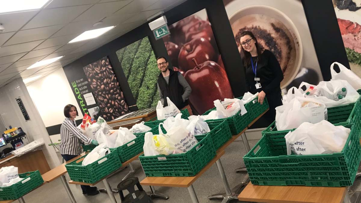 Food deliveries being packaged up at the Boley Park community hub