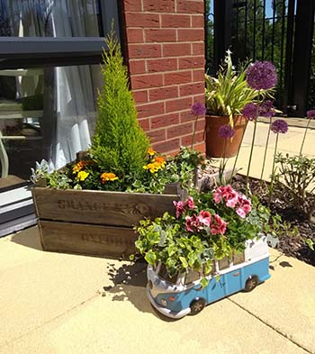 Some of the planters at The Spires care home