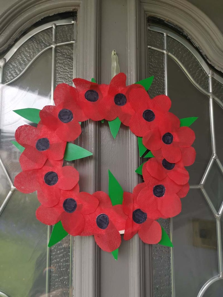 Picture of Isla and Finn's home-made poppy wreath