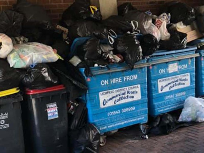 Rubbish piled up outside Armada House