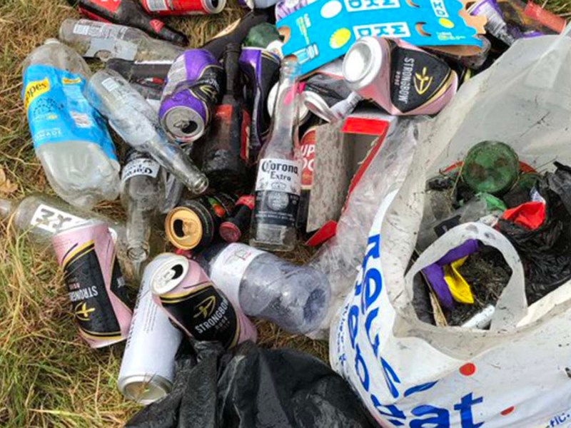 Some of the rubbish left behind at Pipe Green