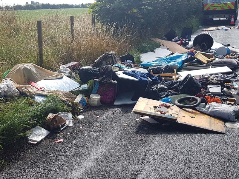 Rubbish dumped on Cappers Lane in Lichfield