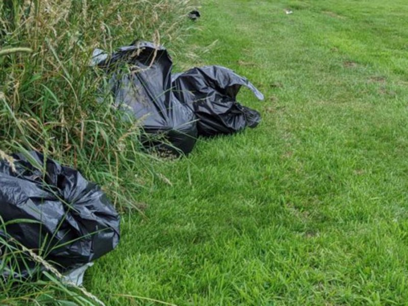 Rubbish left behind by travellers in Lichfield