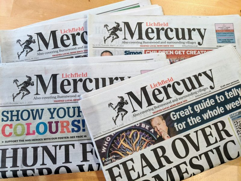 A picture of the last four copies of the Lichfield Mercury