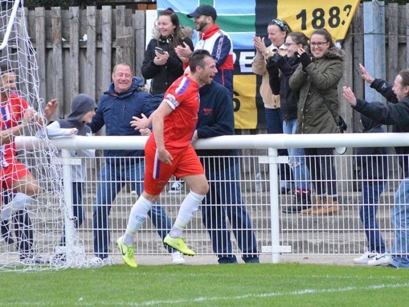 Jack Langston celebrates his goal against Belper. Picture: Louise Yates