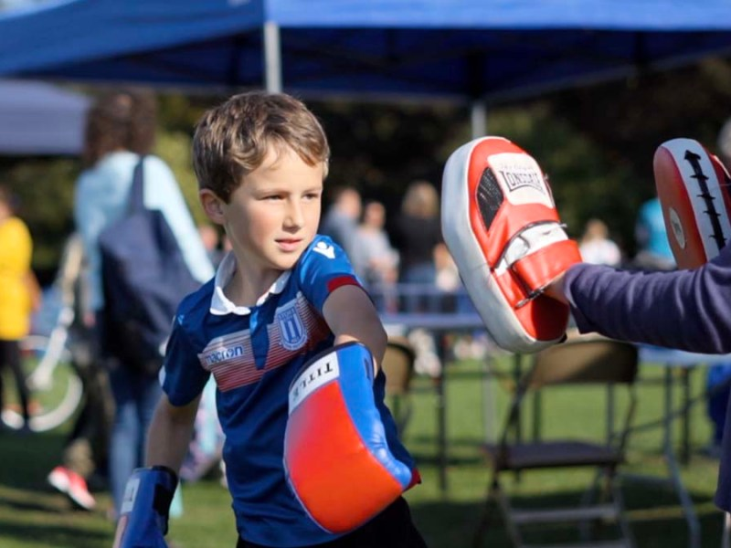 A youngster taking part in the community games