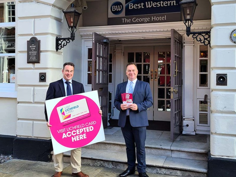 Cllr Iain Eadie with Mark Santy, general manager at The George Hotel