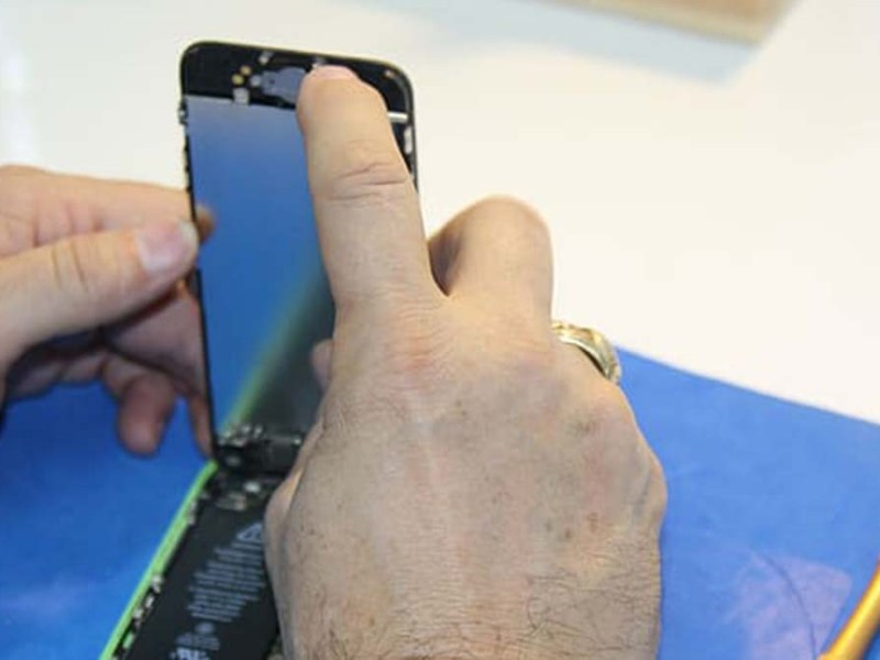 A phone being repaired