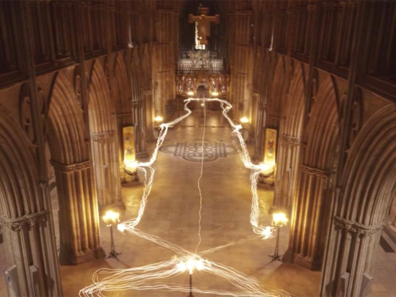 Candles illuminated at Lichfield Cathedral