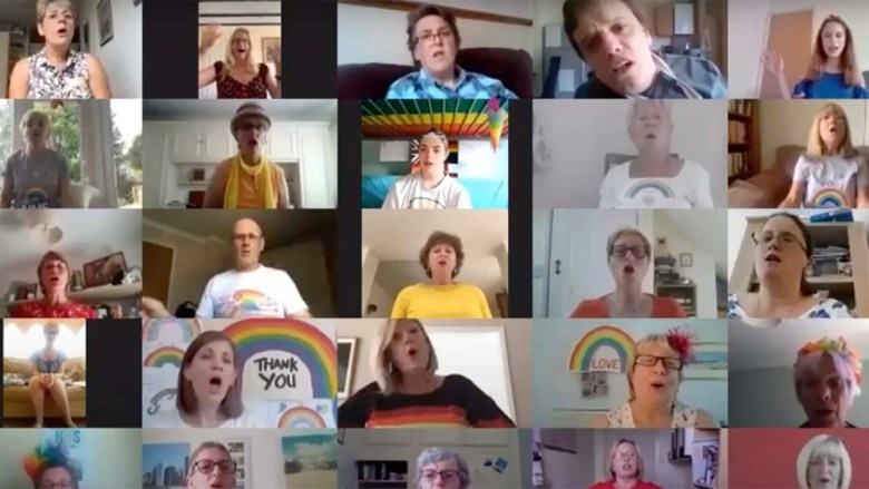 Members of the Got 2 Sing choir performing online