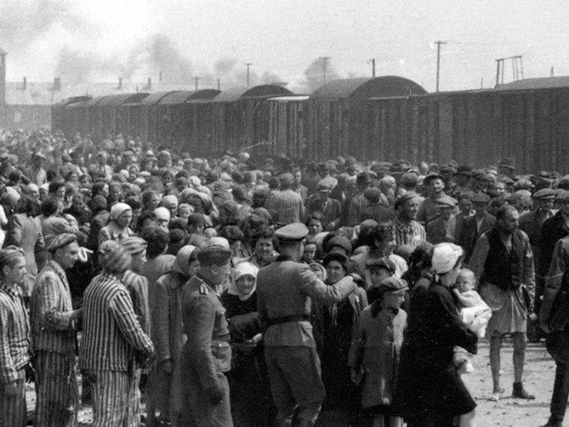 The death camp at Auschwitz during World War Two