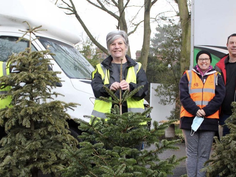 Treecycle volunteers with some of the Christmas trees they collected