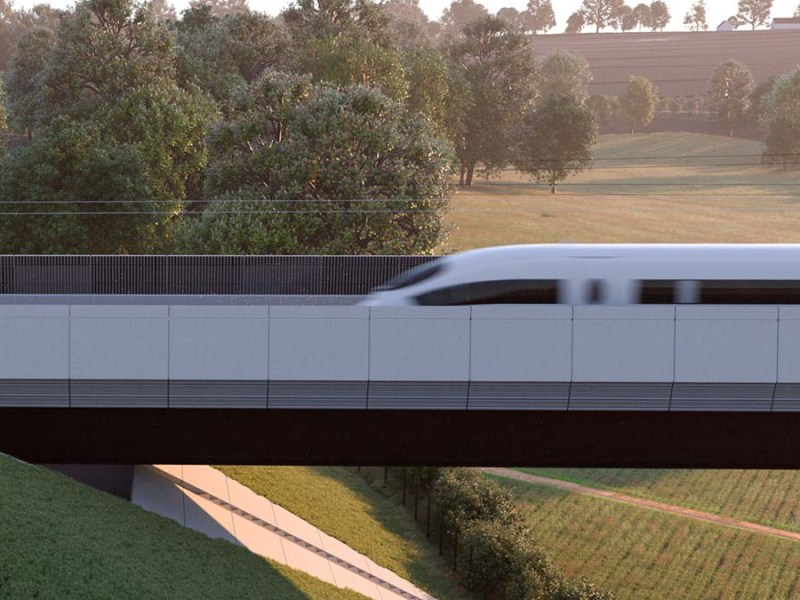 An artist's impression of the HS2 line