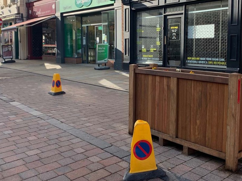 Some of the blocked off blue badge bays in Lichfield city centre