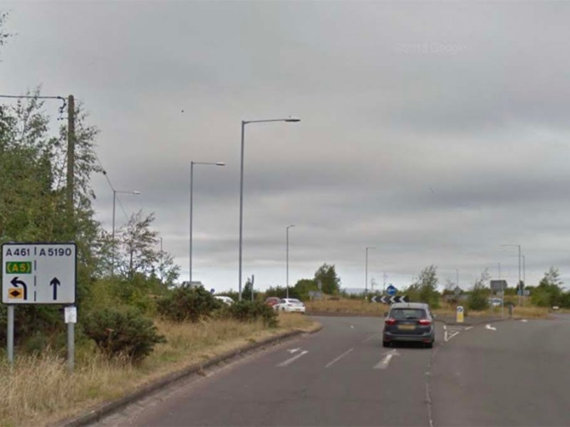 The Walsall Road near the traffic island at Pipe Hill