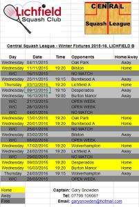 Central Winter League 2015-16 fixtures Lichfield B