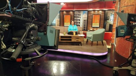 Licia on set at KOB-NBC Albuquerque