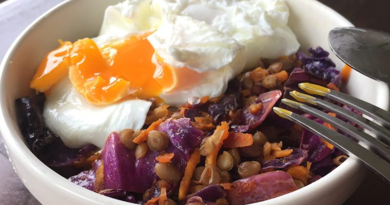 Where have I been?  And please enjoy some warm lentil salad topped with poached egg.