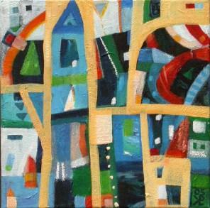 Hiše in hišice 40x40, akril na platnu, 2005